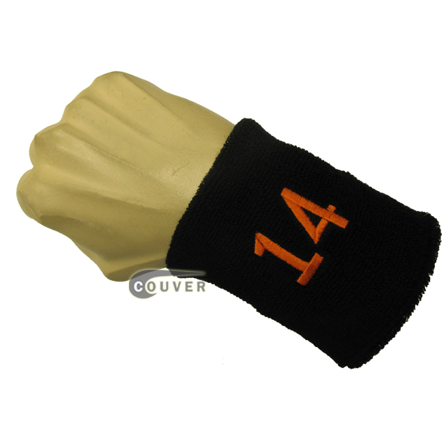 Black with Orange Number 14 embroidered Sweat Wristband