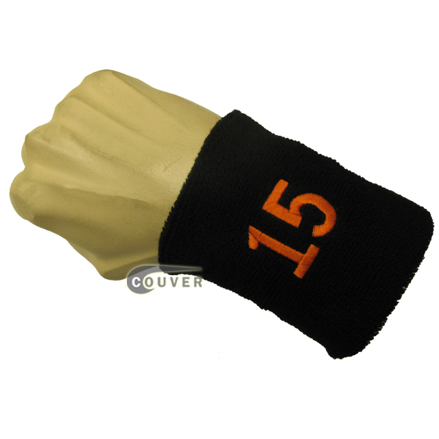 Black with Orange Number 15 embroidered Sweat Wristband