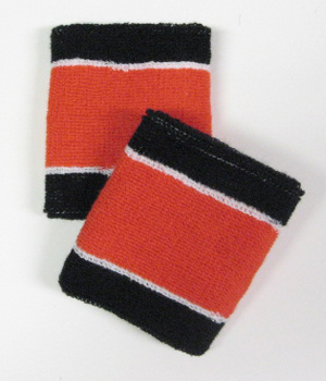 Wholesale Black Dark_Orange 2 colored Sport Wristbands [6 pairs]