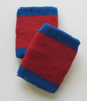Blue Red 2 colored Cotton Sport Wrist bands [6 pairs]