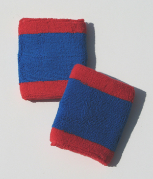 Red_Blue 2 color Sport Wristband [6 pairs]