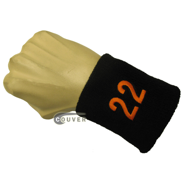 Black with Orange Number 22 embroidered Sweat Wristband
