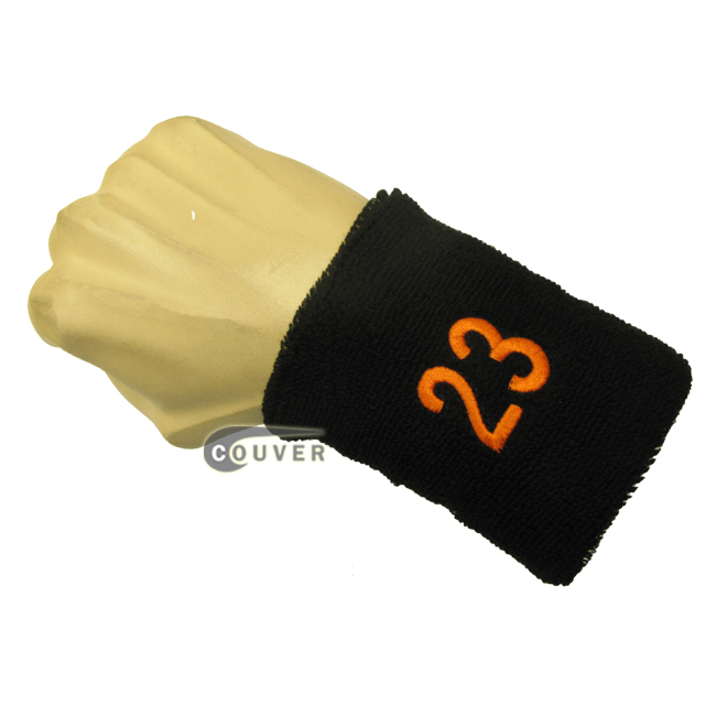 Black with Orange Number 23 embroidered Sweat Wristband