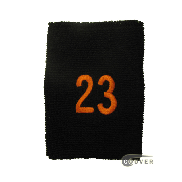 Embroidered Black Numbered sweat wristband WB104-BLK_23_DRKORG