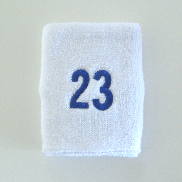 Number23 embroidered white numbered wrist sweatband [1pc]