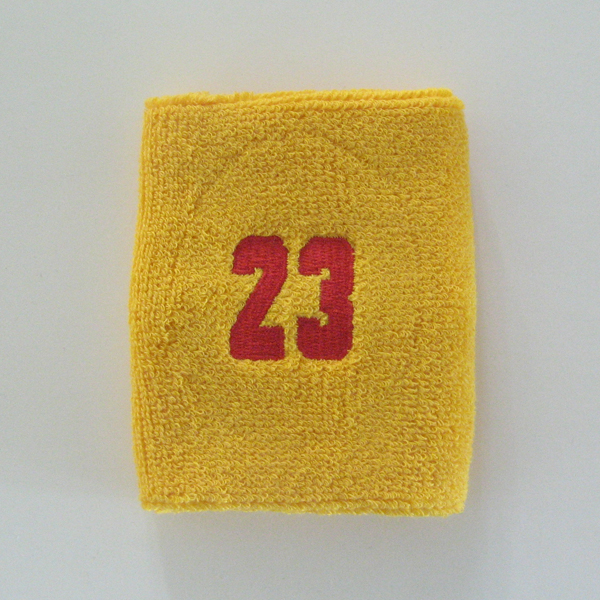 Number23 embroidered yellow gold numbered sweat wristband 1pc