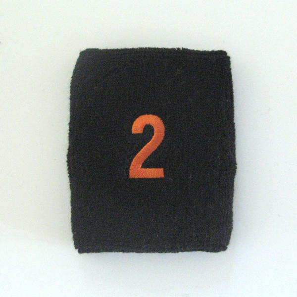 Embroidered Black Numbered sweat wristband WB104-BLK_2_DRKORG