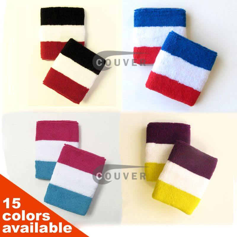3 Colored White in the Middle Striped Sport Wrist Sweatband Wholesale