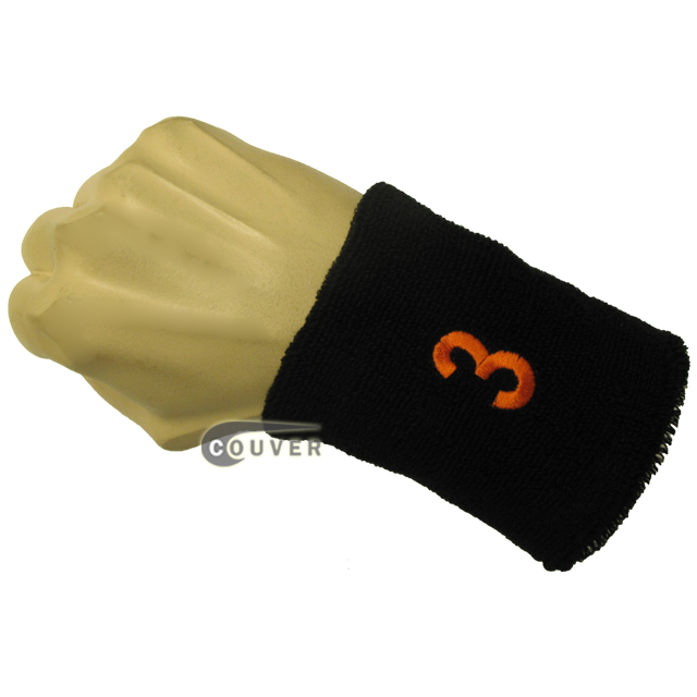 Black numbered sweat band number 3 three embroidered in orange