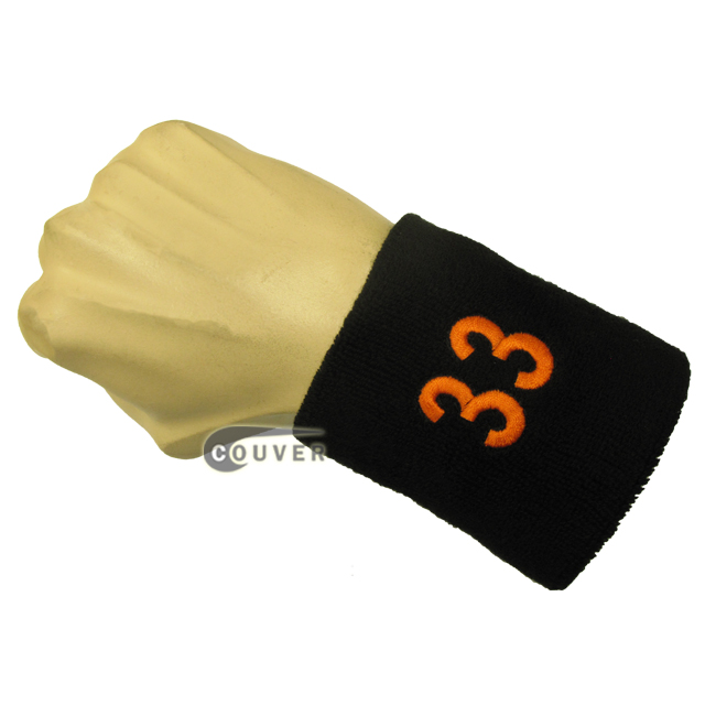 Black numbered sweatband number33 embroidered in orange [1pc]