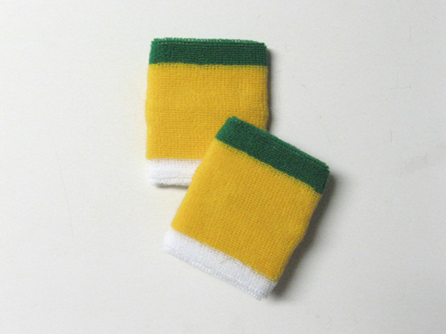 3-color Green and White Trim Yellow sweat Wrist Bands [6pairs]