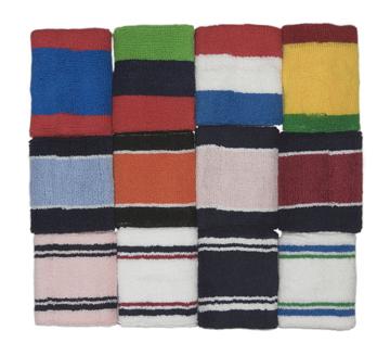 mens 3color striped wrist sweatband