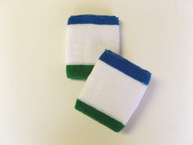 3Color Trim White with Blue Green Wrist Bands Wholesale 6pairs