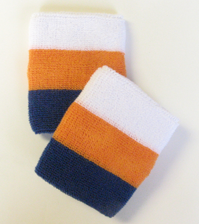 White orange blue 3color striped athletic sweat wristbands