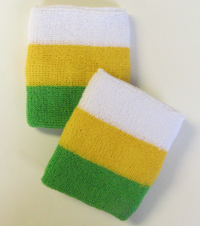 White yellow bright green 3color stripe athletic wristband