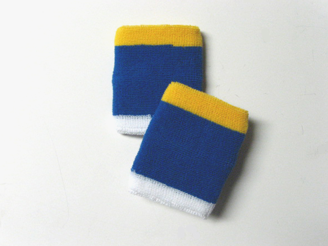 3Color Yellow White in Blue Wrist Sweat Bands Wholesale [6pairs]