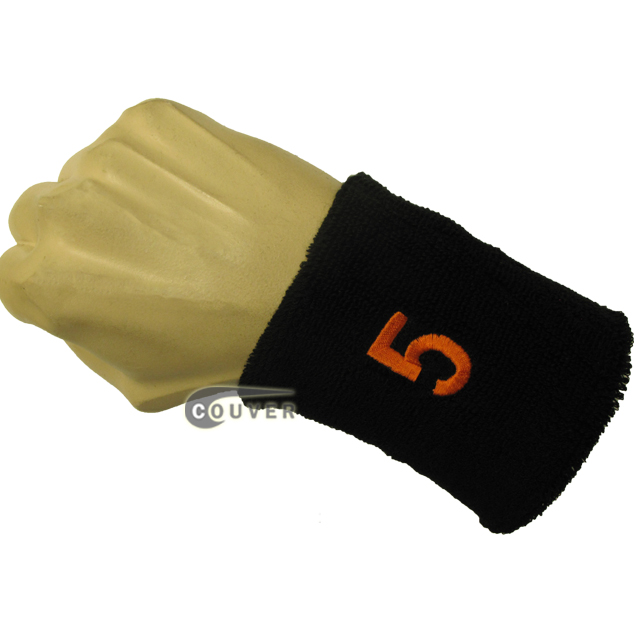 Black numbered sweat band number 5 five embroidered in orange