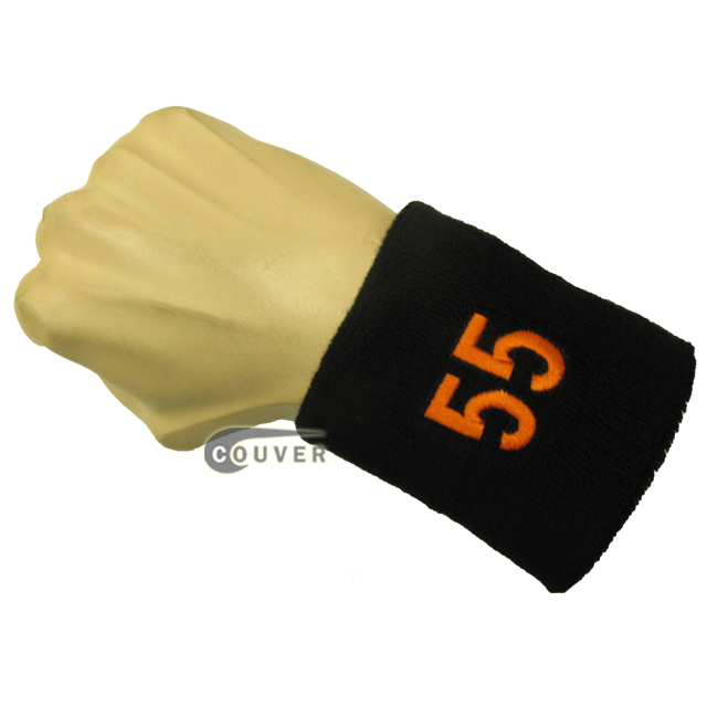 Black with Orange Number 55 embroidered Sweat Wristband