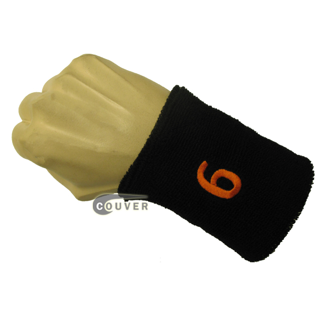 Black numbered sweat band number 6 six embroidered in orange