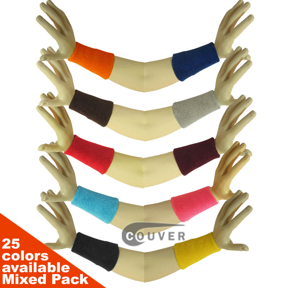 6INCH Mens Athletic Sport Wrist Sweatbands Mixed in Color 6PAIRS