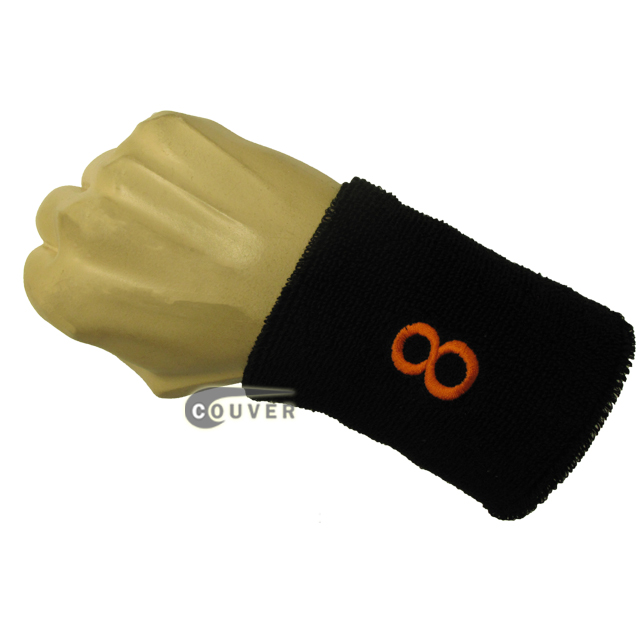 Black with Orange Number 8 embroidered Sweat Wristband