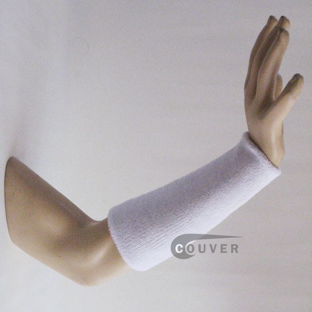 9IN COUVER White Athletic Sweat Wristbands Wholesale 3PRs