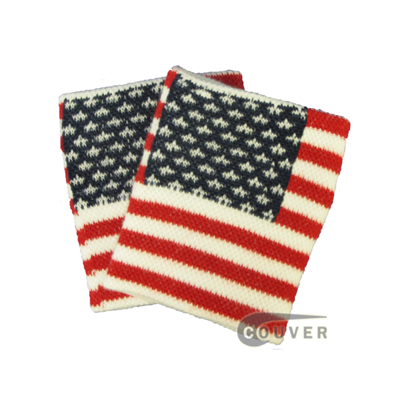 Red White & Blue American Flag Costume Wristband Wholesale 6 Pairs