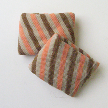 Girls Beige Brown Orange Diagonal Stripes Wristband [2pairs]