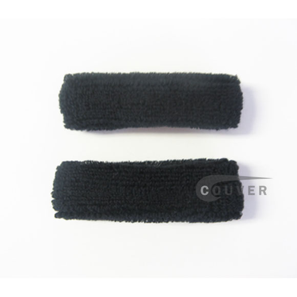 Black 1inch thin cotton terry wrist sweatbands [3pairs]