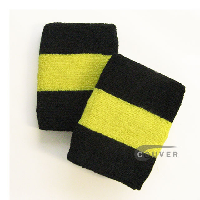 Black bright yellow black 2color sweat wristbands wholesale