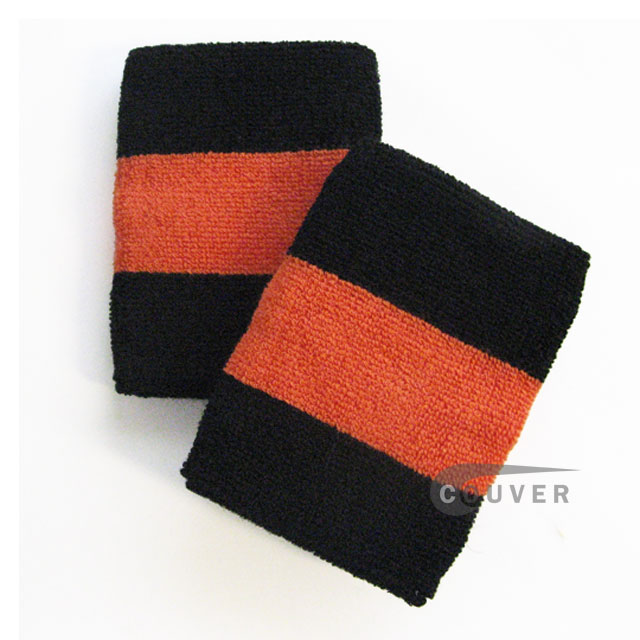 Black dark orange black 2color sweat wristbands wholesale