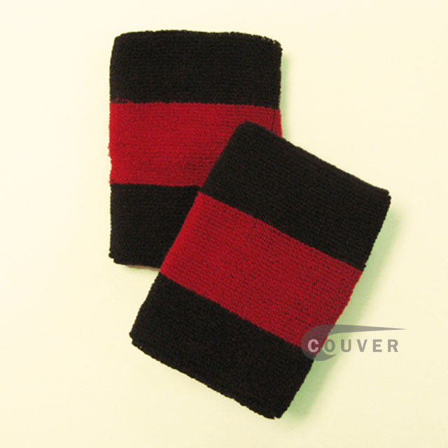 Black dark-red black 2colored sports sweat wristbands wholesale