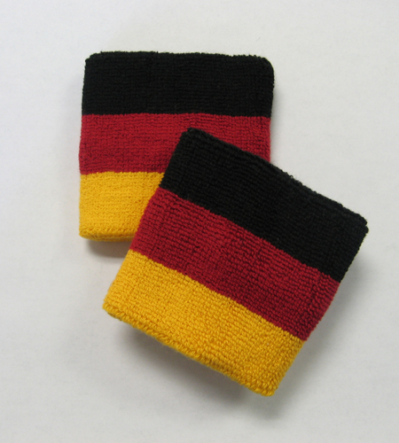 Black dark red golden yellow 3colored stripes sport wristbands