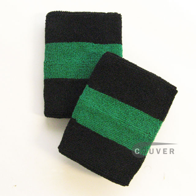 Black green black 2colored sports sweat wristbands wholesale
