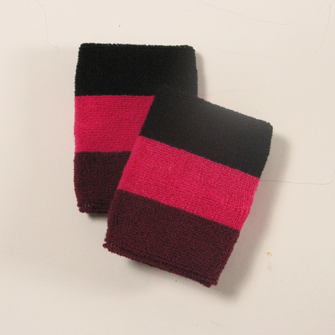 Black hot pink maroon sweatbands for sports [6pairs]