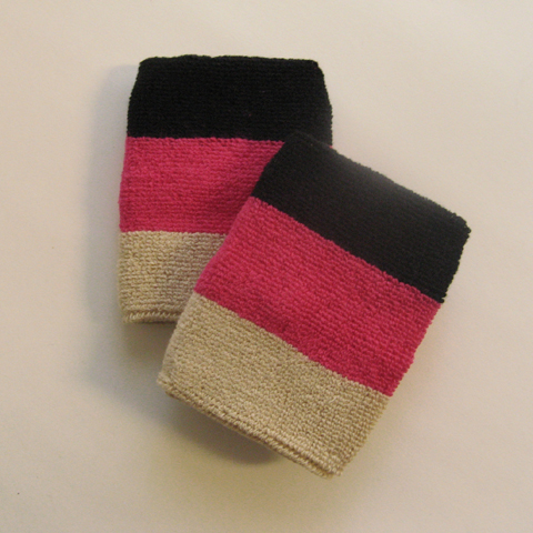 Black hot pink Vegas gold 3color striped wrist sweatbands [6pair