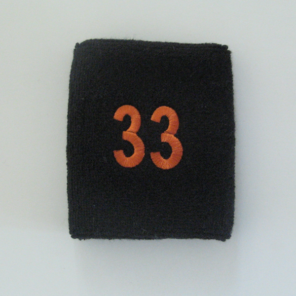 Embroidered Black Numbered sweat wristband WB104-BLK_33_DRKORG