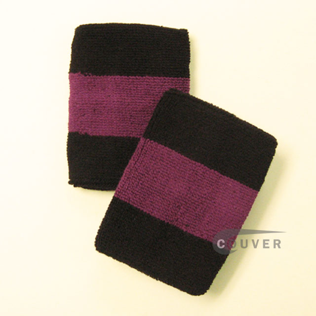 Black purple black 2colored sports sweat wristbands wholesale