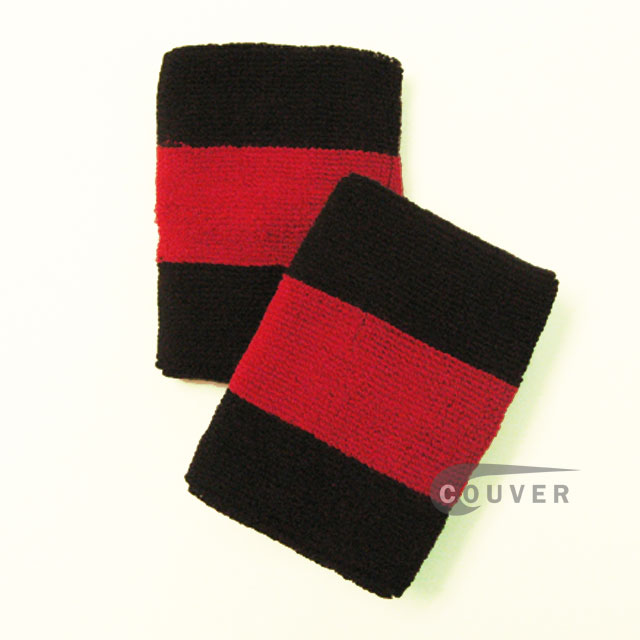 Black Red Black 2colored sports sweat wristbands wholesale