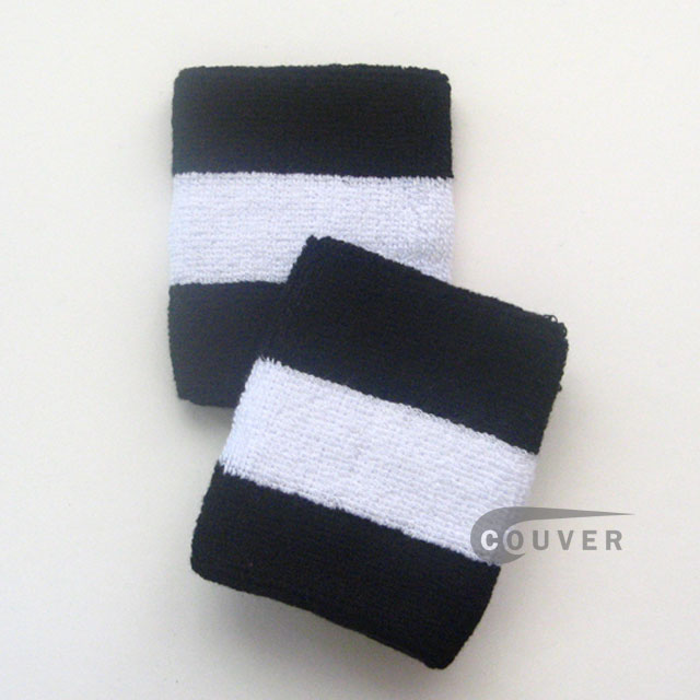 Black white black 2colored sports sweat wristbands wholesale