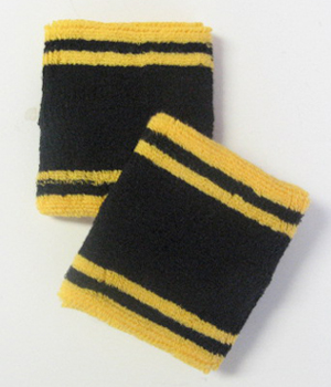 Tennis Sweatbands Wristbands Black with Yellow Lines 6pairs