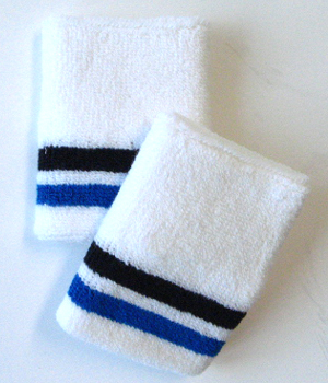 Black Blue Bottom Stripe Quality White Wristband [6 pairs]