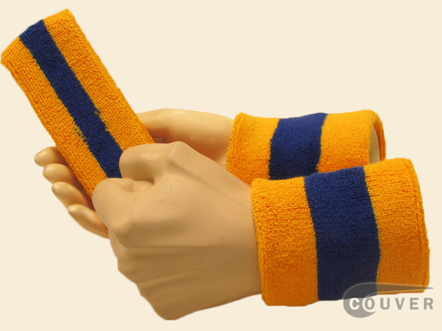 Gold Yellow Blue Gold Yellow 2color striped sweatbands set