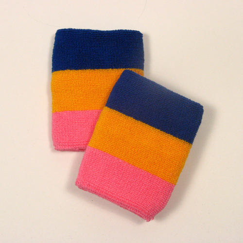 Blue golden yellow pink striped sweatbands for wrist [6pairs]
