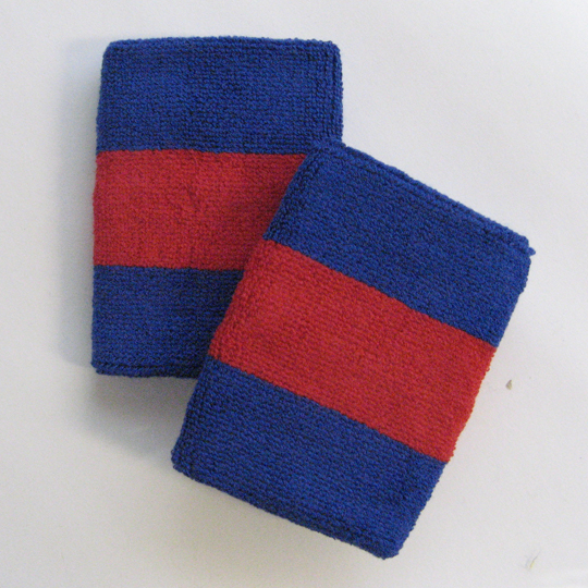 Blue red blue 2color sweat wristbands wholesale