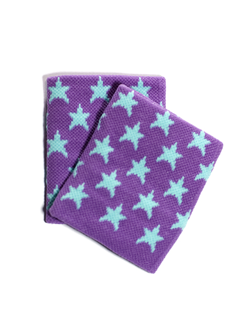 Blue Stars on Purple Wristband for Girls and Teens [2pairs]