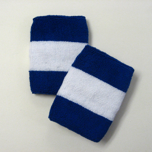 Blue white blue 2colored sports sweat wristbands wholesale