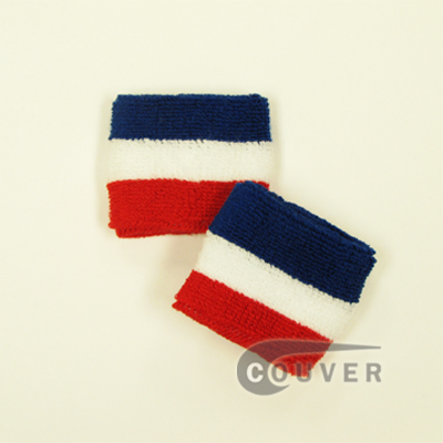 Youth Blue White Red US Team American Flag Striped Wrist Sweatband, 6PRs