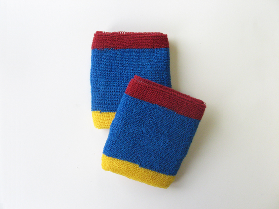 Blue with Red Yellow trim athletic sweat Wrist band [6 pairs]