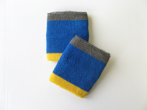 Blue with Gray Yellow trim athletic sweat Wrist band [6pairs]